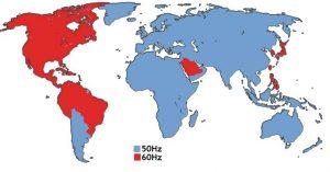 50-60Hz World map